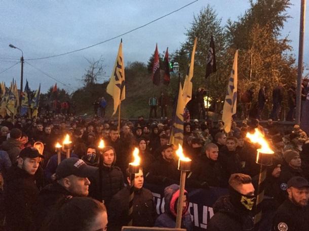 Украинские националисты провели вКиеве митинг вгодовщину создания УПА