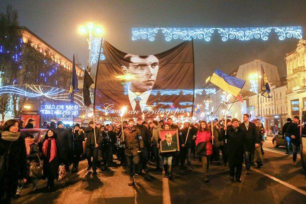 Факельное шествие ивече националистов. Как вКиеве отметили день рождения Бандеры