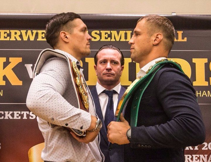 Боксеры впоследний раз взвесились перед боем— Усик vsБриедис
