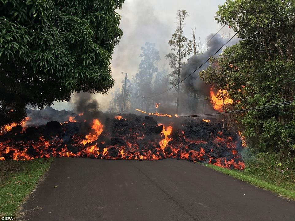 Последствия извержения вулкана наГавайях— Раскаленная лава